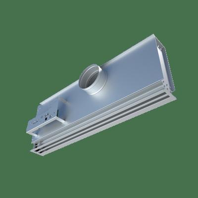 Bottom view of linear VAV diffuser