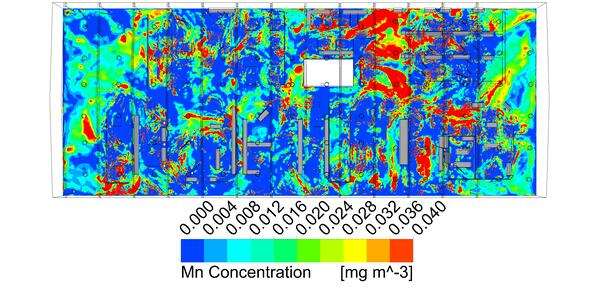 """Manganese particle concentration 42"""" above floor for baseline design"""
