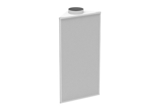 Corner cabinet displacement diffuser