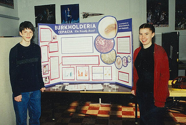 Kelli Dahl and her lab partner at a science fair