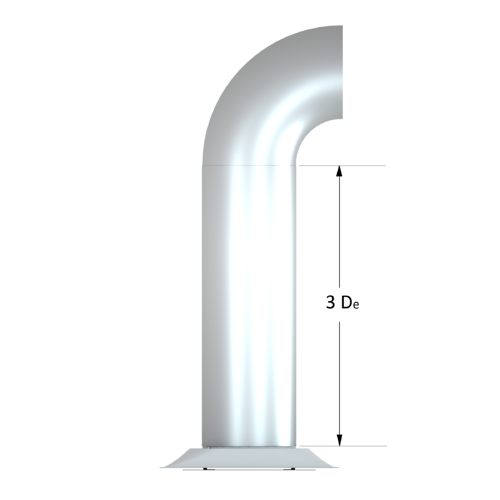 Diffuser with 3 equivalent diameters of straight duct at inlet