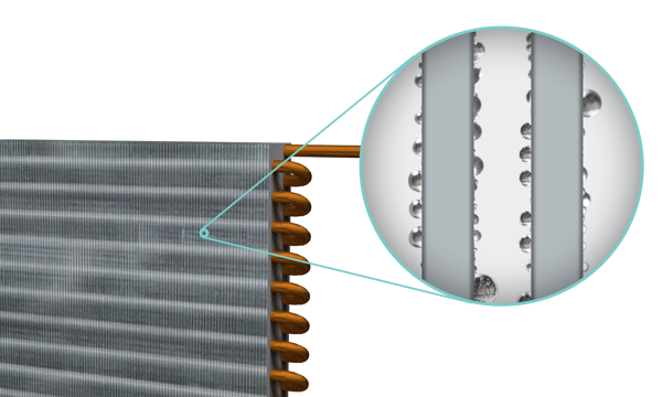 Cooling coil operating below dew point