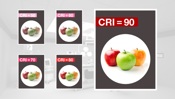 Red, green, and yellow apples used to show color rendering index