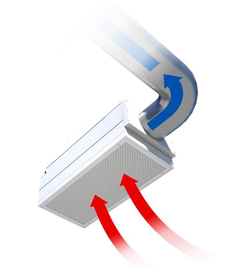 Airflow through an exhaust flow fan filter unit