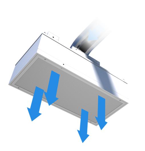 Airflow through a supply flow fan filter unit